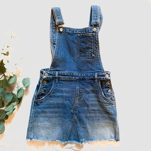 7FAM   denim mini skirt overalls sz 6